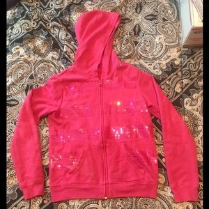 OLD NAVY girls Zip up Pink Sequin hoodie